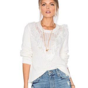 Tularosa Milo Fringe Neck Boho White Sweater